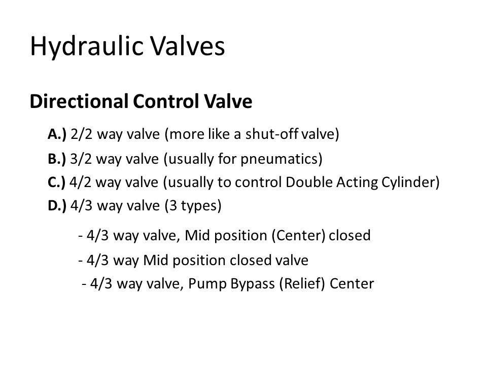 Hydraulic Valves Directional Control Valve A.) 2/2 way valve (more like a shut-off valve) B.) 3/2 way valve (usually for pneumatics) C.) 4/2 way valve