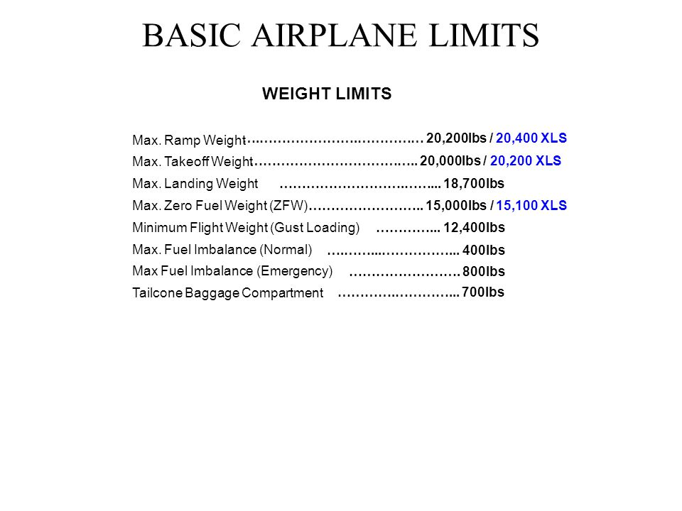 BASIC AIRPLANE LIMITS ALTITUDES Max.Operating Altitude Max.