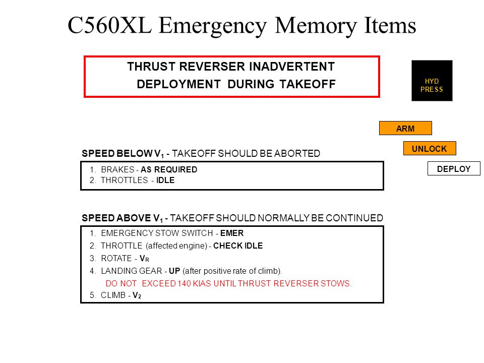 C560XL Emergency Memory Items THRUST REVERSER INADVERTENT INFLIGHT DEPLOYMENT 1.