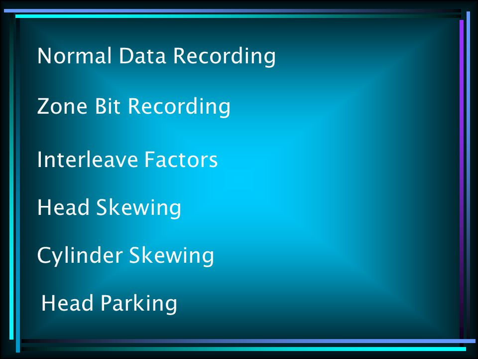 Zone Bit Recording Normal Data Recording Interleave Factors Head Skewing Cylinder Skewing Head Parking