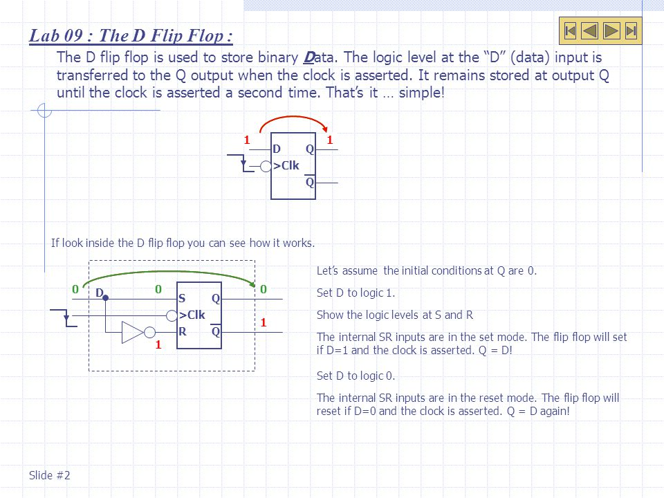 "The D flip flop is used to store binary Data. The logic level at the ""D"" (data) input is transferred to the Q output when the clock is asserted. It re"