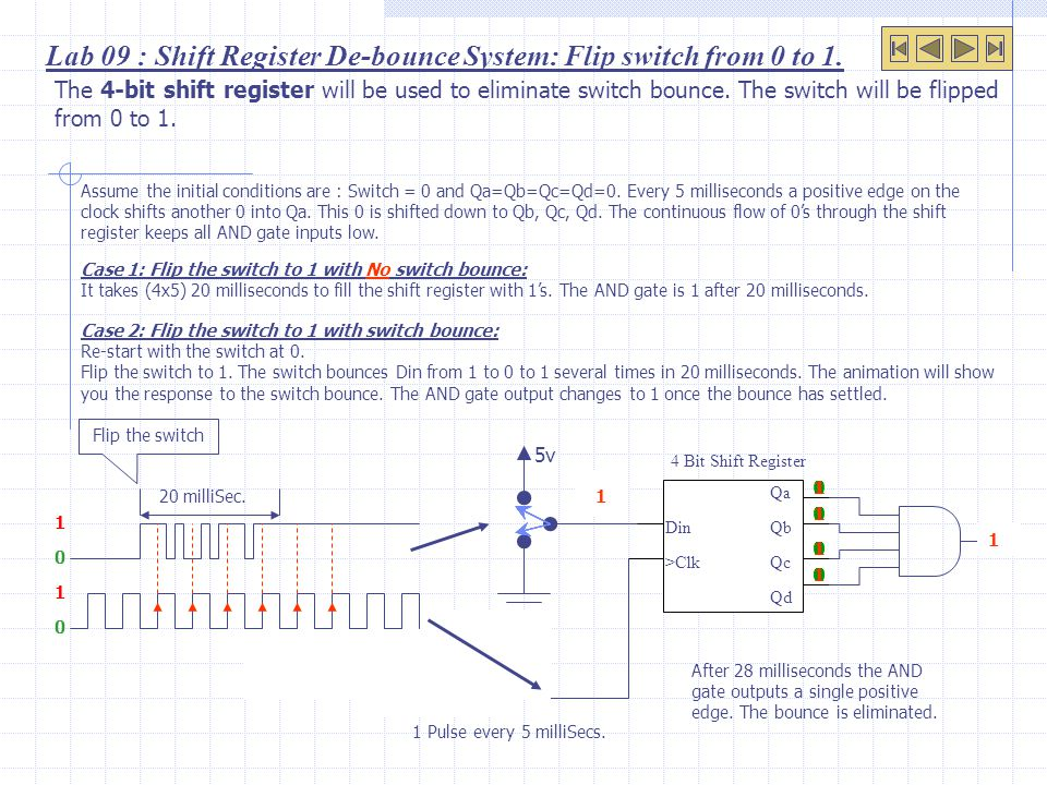 Lab 09 : Shift Register De-bounce System: Flip switch from 0 to 1.