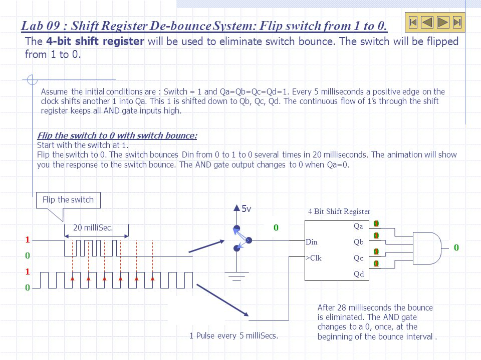 1 Lab 09 : Shift Register De-bounce System: Flip switch from 1 to 0.