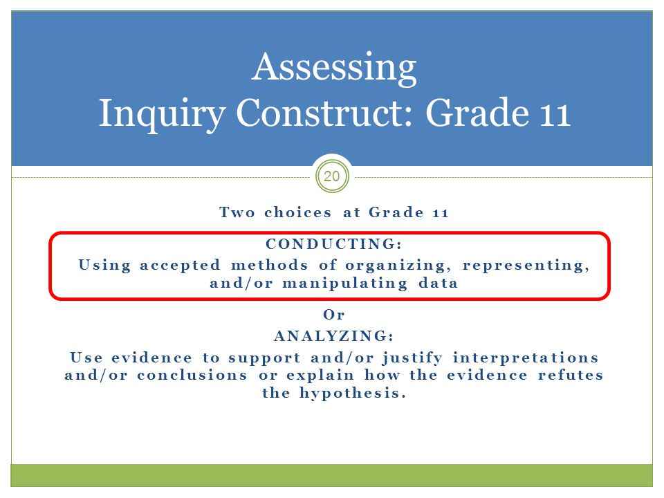 20 Assessing Inquiry Construct: Grade 11 Two choices at Grade 11 CONDUCTING: Using accepted methods of organizing, representing, and/or manipulating data Or ANALYZING: Use evidence to support and/or justify interpretations and/or conclusions or explain how the evidence refutes the hypothesis.