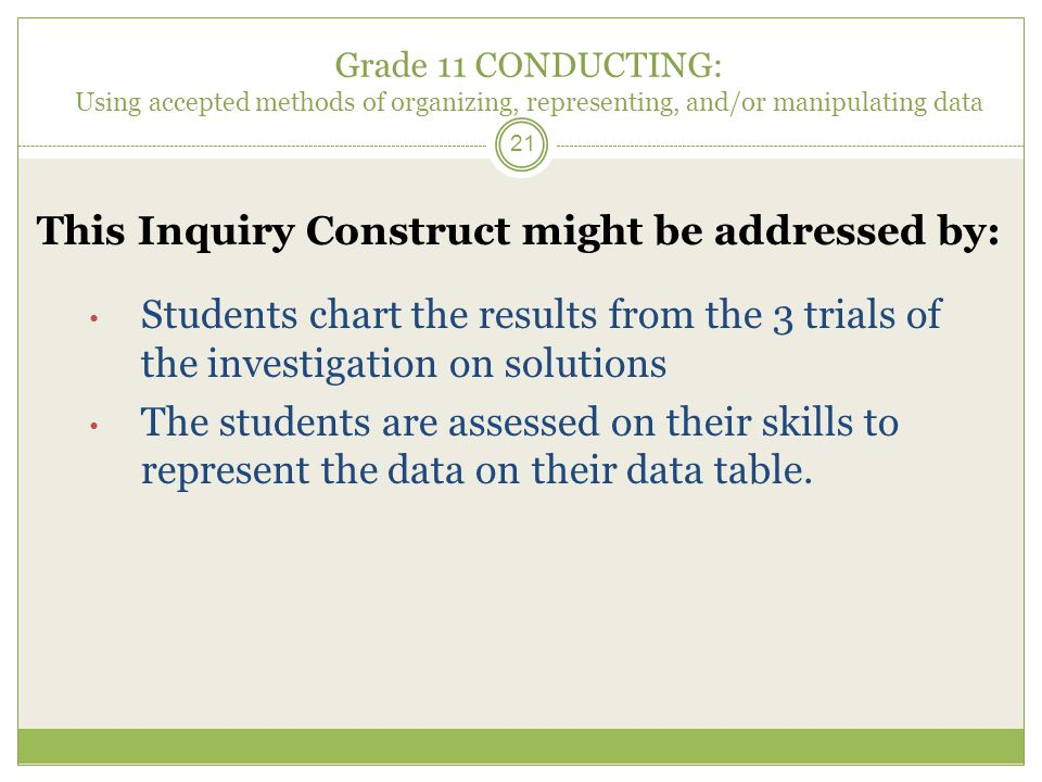 Grade 11 CONDUCTING: Using accepted methods of organizing, representing, and/or manipulating data 21 This Inquiry Construct might be addressed by: Students chart the results from the 3 trials of the investigation on solutions The students are assessed on their skills to represent the data on their data table.