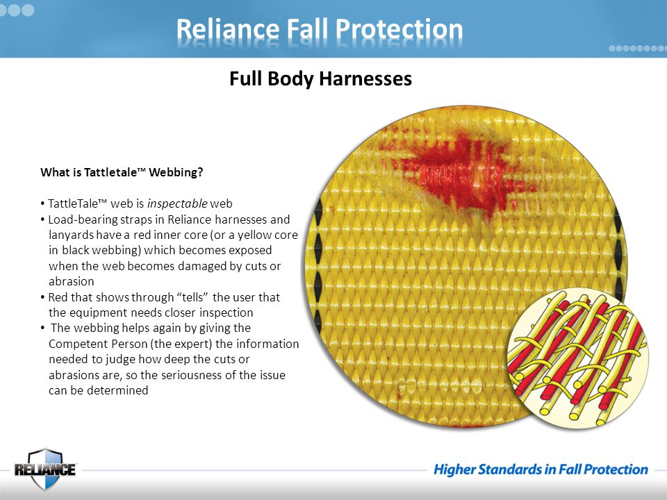 Full Body Harnesses What is Tattletale™ Webbing? TattleTale™ web is inspectable web Load-bearing straps in Reliance harnesses and lanyards have a red