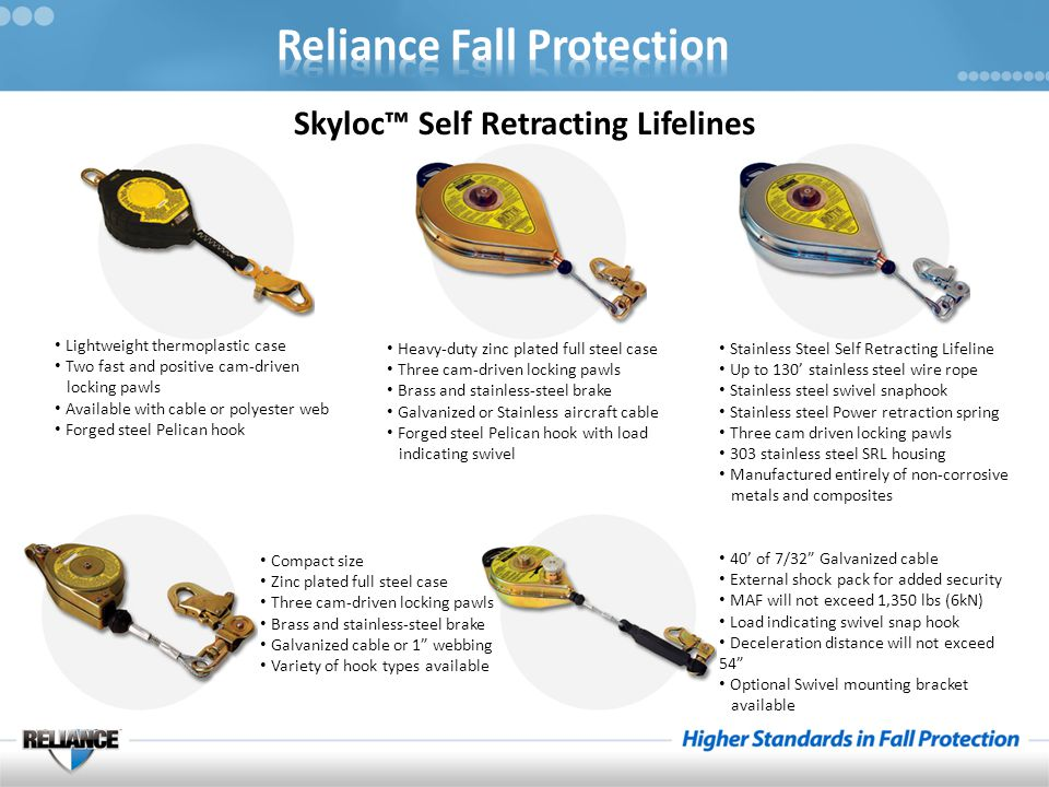 Skyloc™ Self Retracting Lifelines Lightweight thermoplastic case Two fast and positive cam-driven locking pawls Available with cable or polyester web Forged steel Pelican hook Heavy-duty zinc plated full steel case Three cam-driven locking pawls Brass and stainless-steel brake Galvanized or Stainless aircraft cable Forged steel Pelican hook with load indicating swivel Stainless Steel Self Retracting Lifeline Up to 130' stainless steel wire rope Stainless steel swivel snaphook Stainless steel Power retraction spring Three cam driven locking pawls 303 stainless steel SRL housing Manufactured entirely of non-corrosive metals and composites 40' of 7/32 Galvanized cable External shock pack for added security MAF will not exceed 1,350 lbs (6kN) Load indicating swivel snap hook Deceleration distance will not exceed 54 Optional Swivel mounting bracket available Compact size Zinc plated full steel case Three cam-driven locking pawls Brass and stainless-steel brake Galvanized cable or 1 webbing Variety of hook types available
