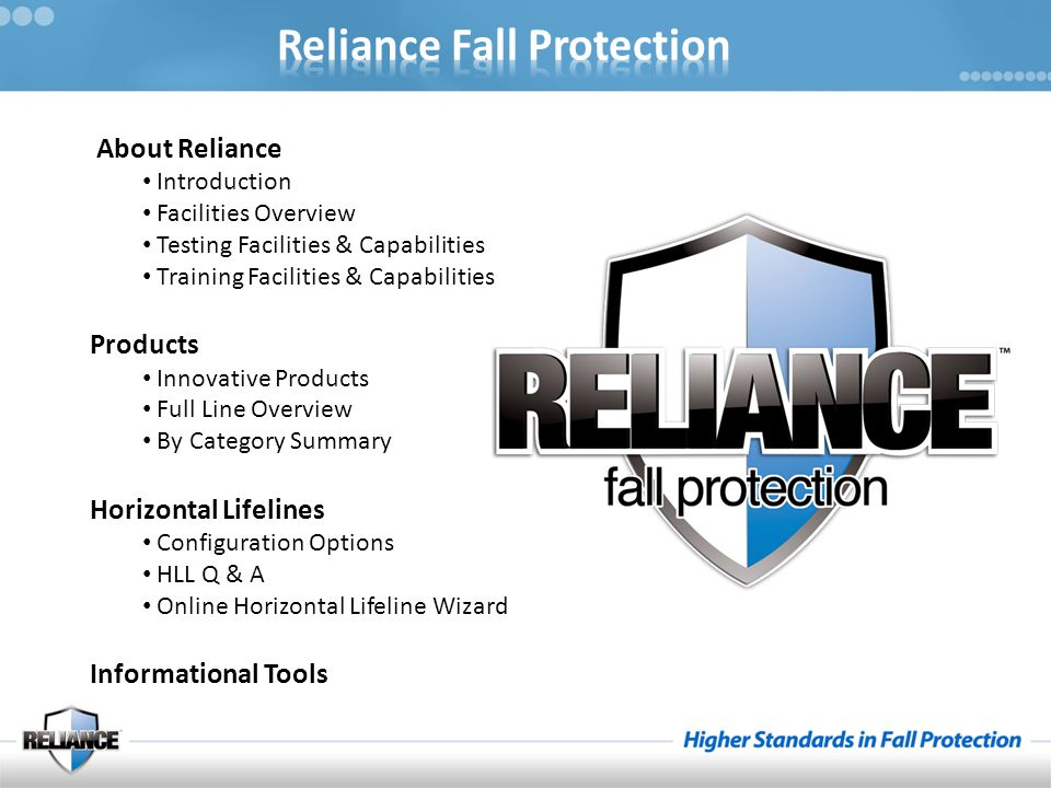 About Reliance Introduction Facilities Overview Testing Facilities & Capabilities Training Facilities & Capabilities Products Innovative Products Full Line Overview By Category Summary Horizontal Lifelines Configuration Options HLL Q & A Online Horizontal Lifeline Wizard Informational Tools