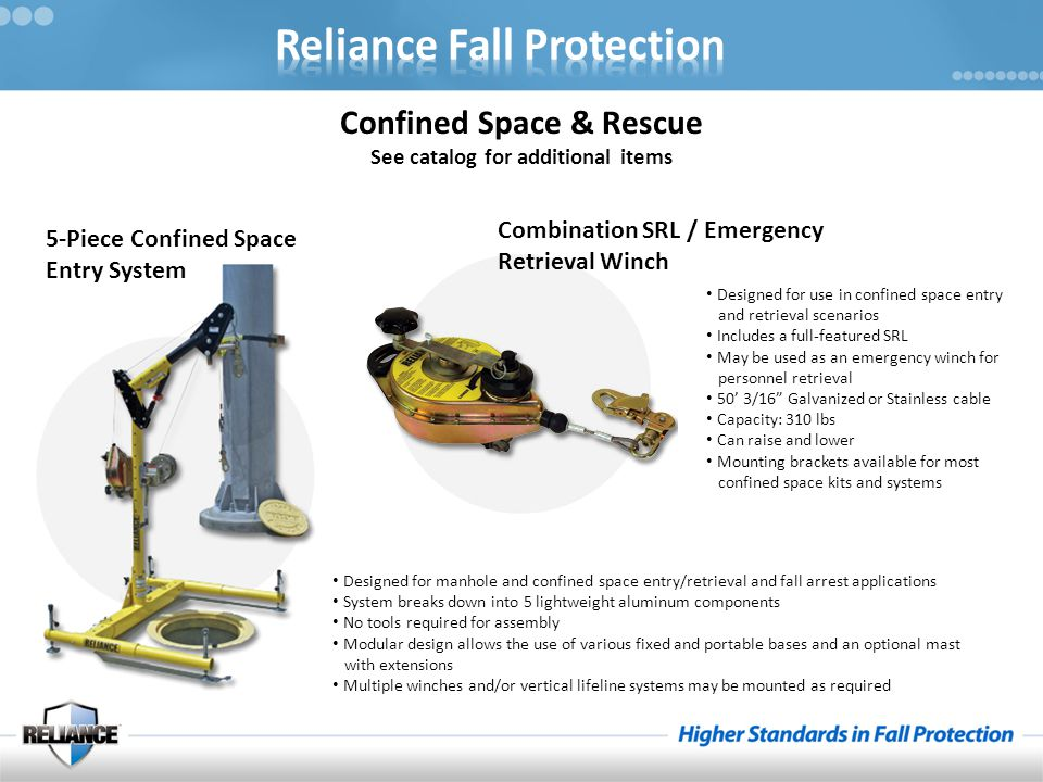 Confined Space & Rescue See catalog for additional items 5-Piece Confined Space Entry System Designed for manhole and confined space entry/retrieval and fall arrest applications System breaks down into 5 lightweight aluminum components No tools required for assembly Modular design allows the use of various fixed and portable bases and an optional mast with extensions Multiple winches and/or vertical lifeline systems may be mounted as required Combination SRL / Emergency Retrieval Winch Designed for use in confined space entry and retrieval scenarios Includes a full-featured SRL May be used as an emergency winch for personnel retrieval 50' 3/16 Galvanized or Stainless cable Capacity: 310 lbs Can raise and lower Mounting brackets available for most confined space kits and systems