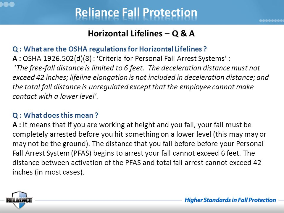 Horizontal Lifelines – Q & A Q : What are the OSHA regulations for Horizontal Lifelines .