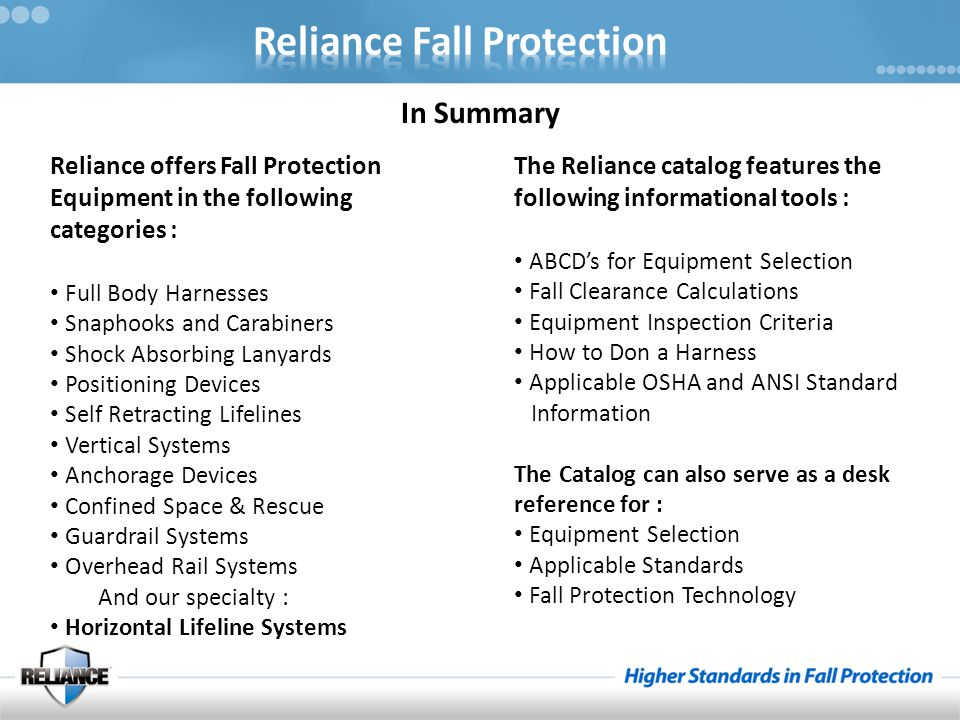 Reliance offers Fall Protection Equipment in the following categories : Full Body Harnesses Snaphooks and Carabiners Shock Absorbing Lanyards Position