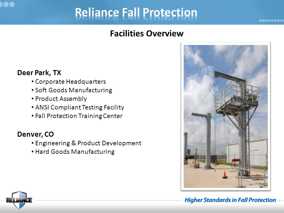 Facilities Overview Deer Park, TX Corporate Headquarters Soft Goods Manufacturing Product Assembly ANSI Compliant Testing Facility Fall Protection Training Center Denver, CO Engineering & Product Development Hard Goods Manufacturing