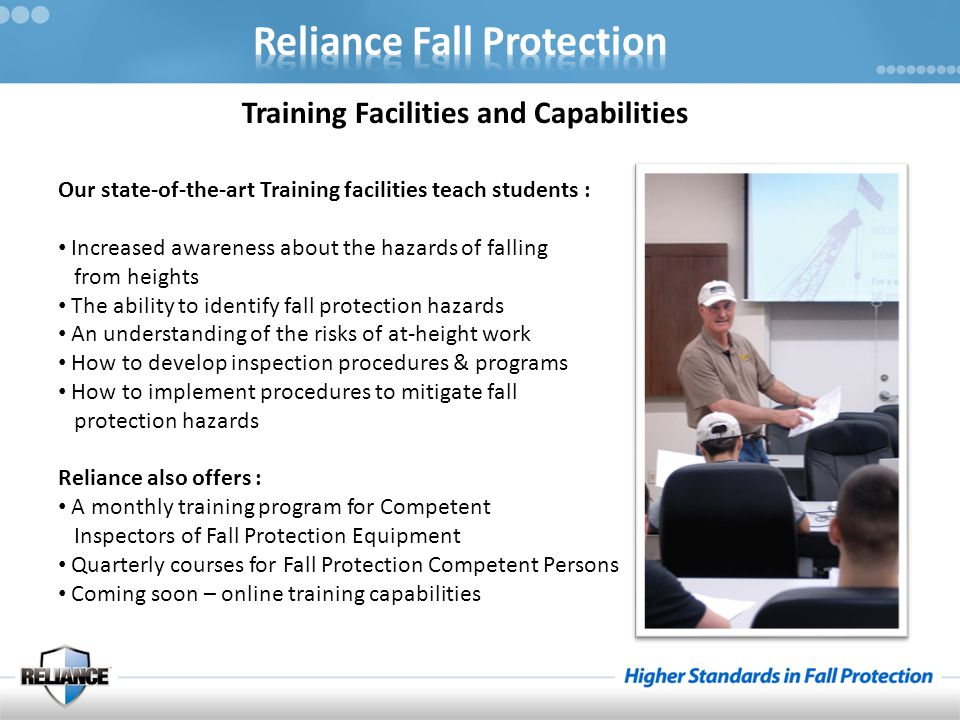 Training Facilities and Capabilities Our state-of-the-art Training facilities teach students : Increased awareness about the hazards of falling from h