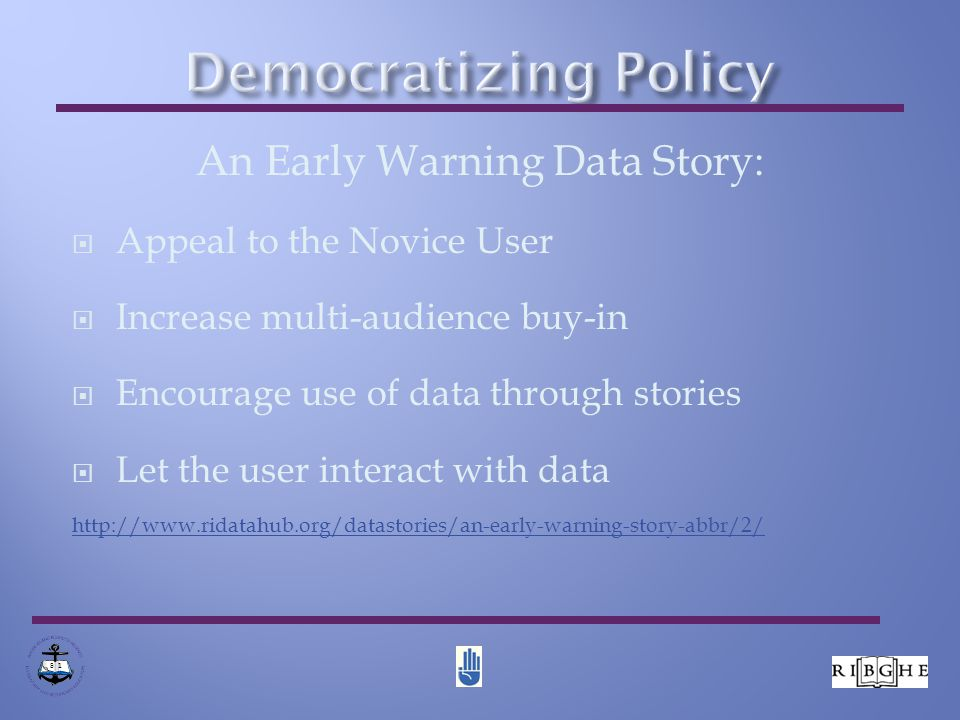 RI DataHub Demo Bridging Data Silos to Inform Policy http://www.ridatahub.org  Hub Overview  How the Hub works  Reports, stories, catalog, Weave, Users guides 8 1