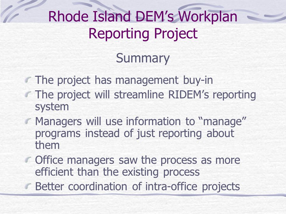 Rhode Island DEM's Workplan Reporting Project Where do we go from here.