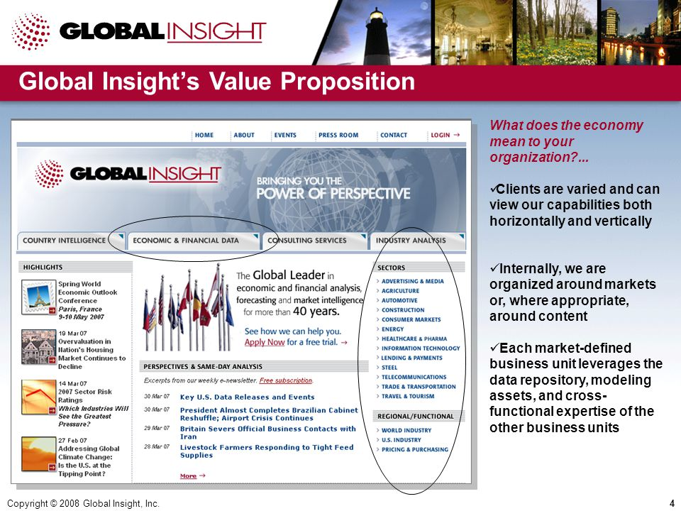 Copyright © 2008 Global Insight, Inc.4 Global Insight's Value Proposition What does the economy mean to your organization ...