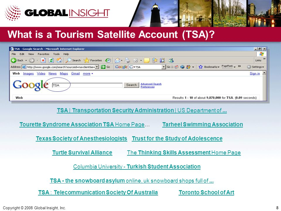Copyright © 2008 Global Insight, Inc.8 TSA | Transportation Security Administration | US Department of...