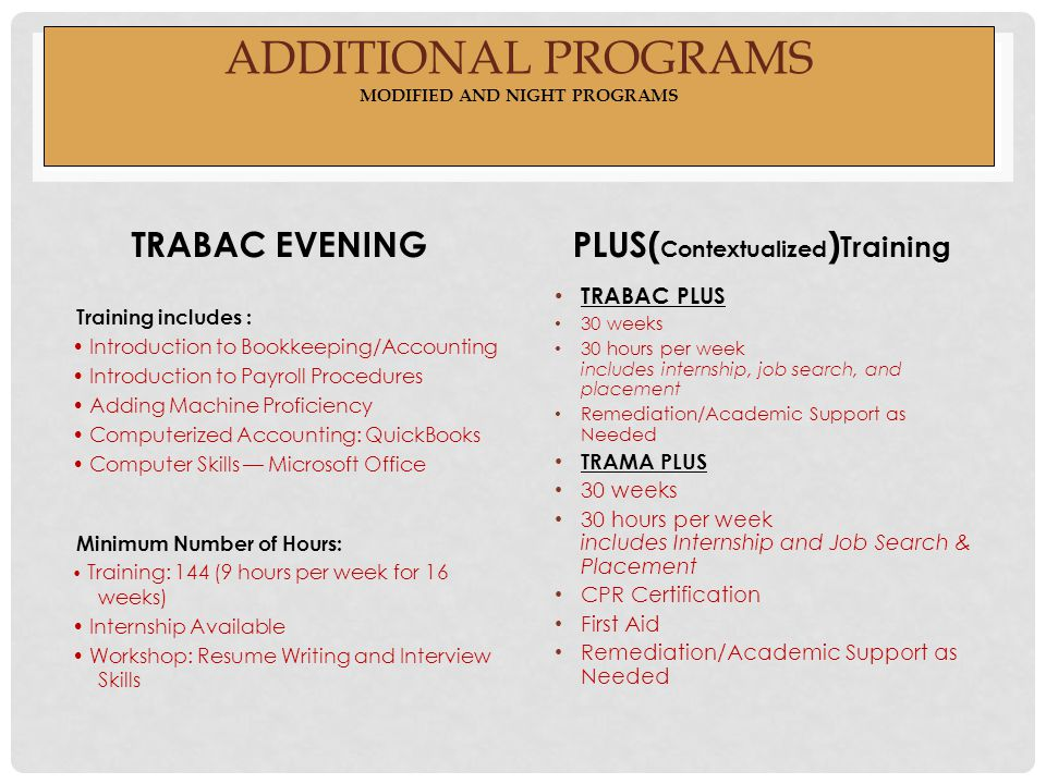 ADDITIONAL PROGRAMS MODIFIED AND NIGHT PROGRAMS TRABAC EVENING Training includes : Introduction to Bookkeeping/Accounting Introduction to Payroll Procedures Adding Machine Proficiency Computerized Accounting: QuickBooks Computer Skills — Microsoft Office Minimum Number of Hours: Training: 144 (9 hours per week for 16 weeks) Internship Available Workshop: Resume Writing and Interview Skills PLUS( Contextualized ) Training TRABAC PLUS 30 weeks 30 hours per week includes internship, job search, and placement Remediation/Academic Support as Needed TRAMA PLUS 30 weeks 30 hours per week includes Internship and Job Search & Placement CPR Certification First Aid Remediation/Academic Support as Needed