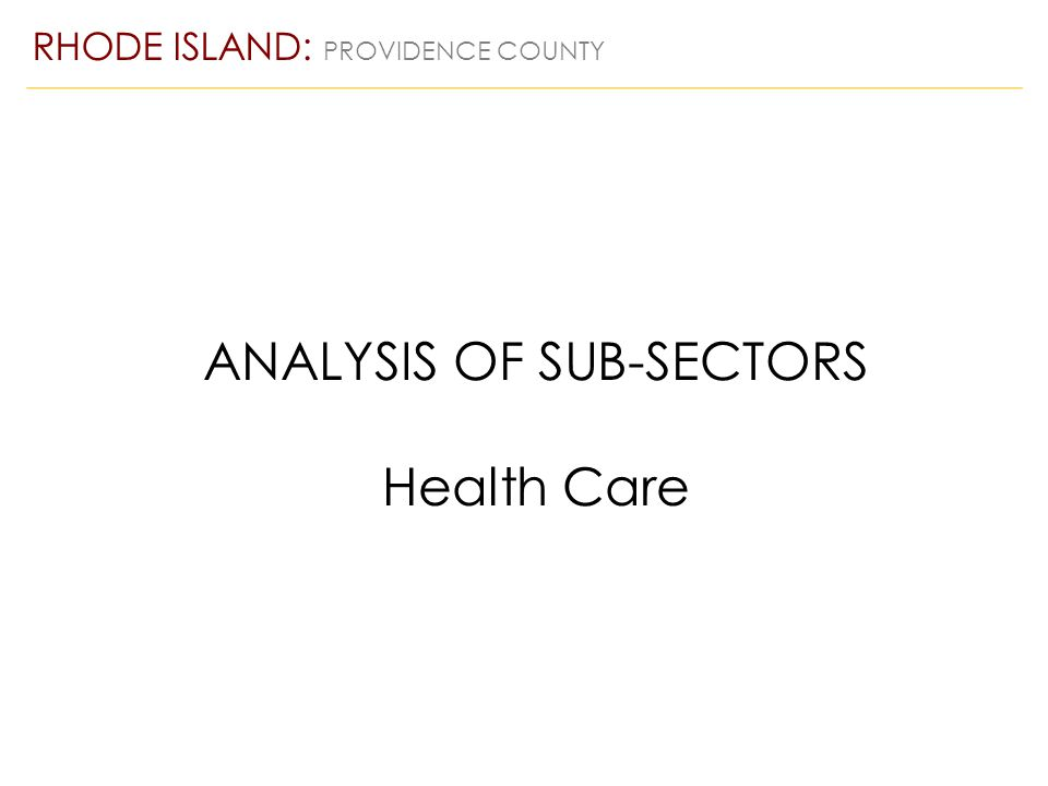 ANALYSIS OF SUB-SECTORS Health Care RHODE ISLAND: PROVIDENCE COUNTY