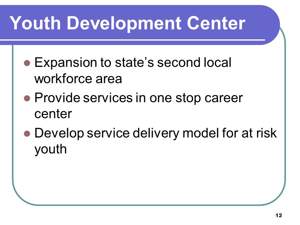 12 Youth Development Center Expansion to state's second local workforce area Provide services in one stop career center Develop service delivery model for at risk youth