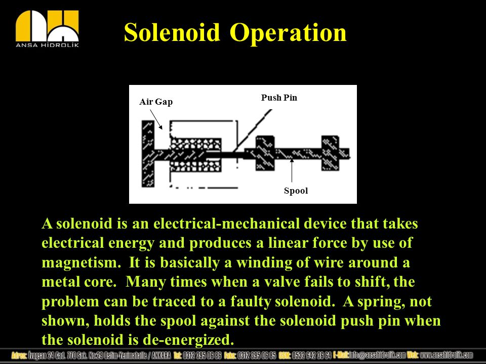 Solenoid Operation Push Pin Air Gap Spool A solenoid is an electrical-mechanical device that takes electrical energy and produces a linear force by us