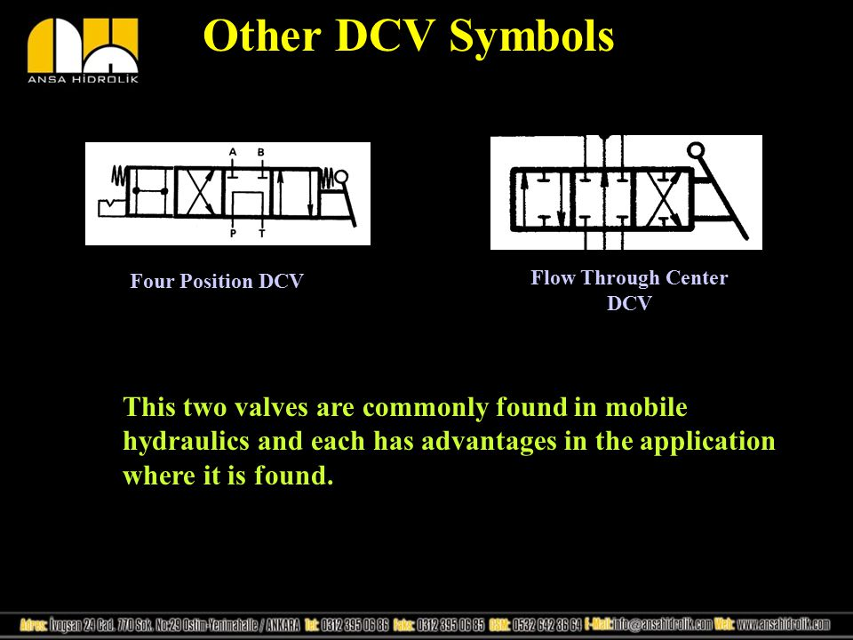 Other DCV Symbols Four Position DCV Flow Through Center DCV This two valves are commonly found in mobile hydraulics and each has advantages in the app