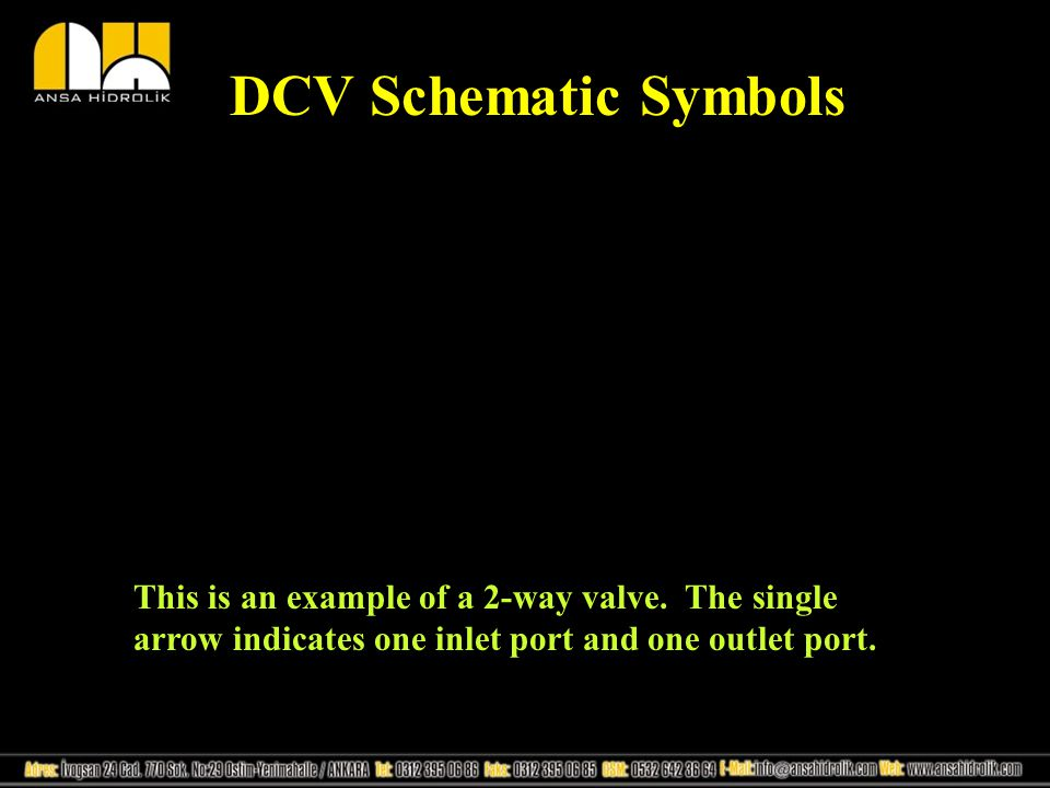 DCV Schematic Symbols This is an example of a 2-way valve. The single arrow indicates one inlet port and one outlet port.