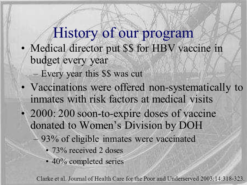 History of our program Medical director put $$ for HBV vaccine in budget every year –Every year this $$ was cut Vaccinations were offered non-systematically to inmates with risk factors at medical visits 2000: 200 soon-to-expire doses of vaccine donated to Women's Division by DOH –93% of eligible inmates were vaccinated 73% received 2 doses 40% completed series Clarke et al.