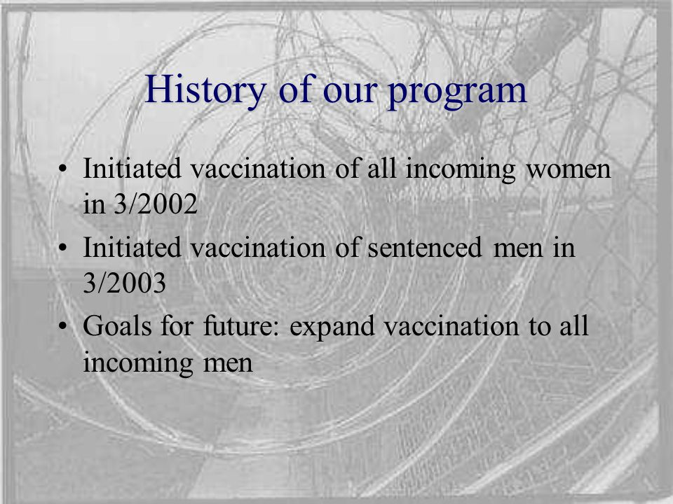 History of our program Initiated vaccination of all incoming women in 3/2002 Initiated vaccination of sentenced men in 3/2003 Goals for future: expand vaccination to all incoming men