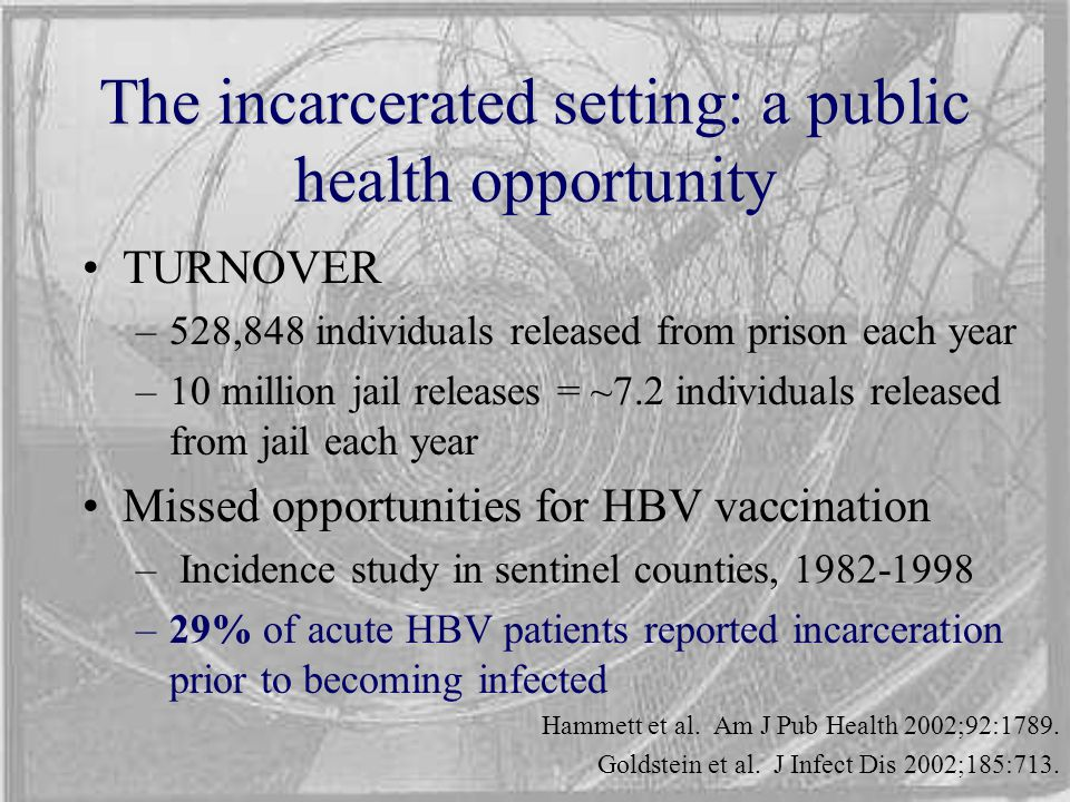 The incarcerated setting: a public health opportunity TURNOVER –528,848 individuals released from prison each year –10 million jail releases = ~7.2 in