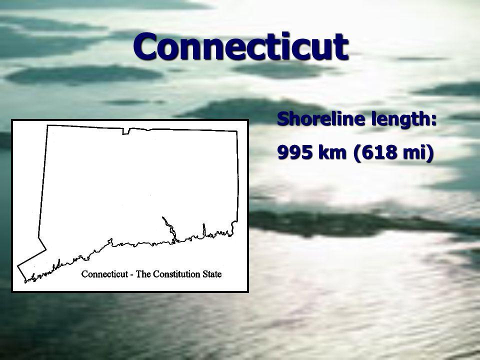 Connecticut Shoreline length: 995 km (618 mi)