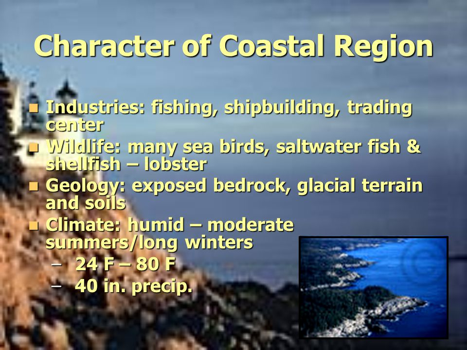 Character of Coastal Region Industries: fishing, shipbuilding, trading center Industries: fishing, shipbuilding, trading center Wildlife: many sea bir