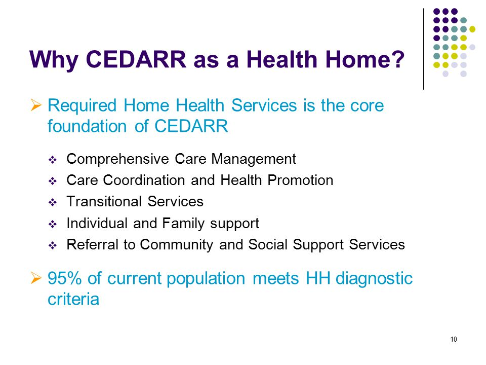 10 Why CEDARR as a Health Home?  Required Home Health Services is the core foundation of CEDARR  Comprehensive Care Management  Care Coordination a