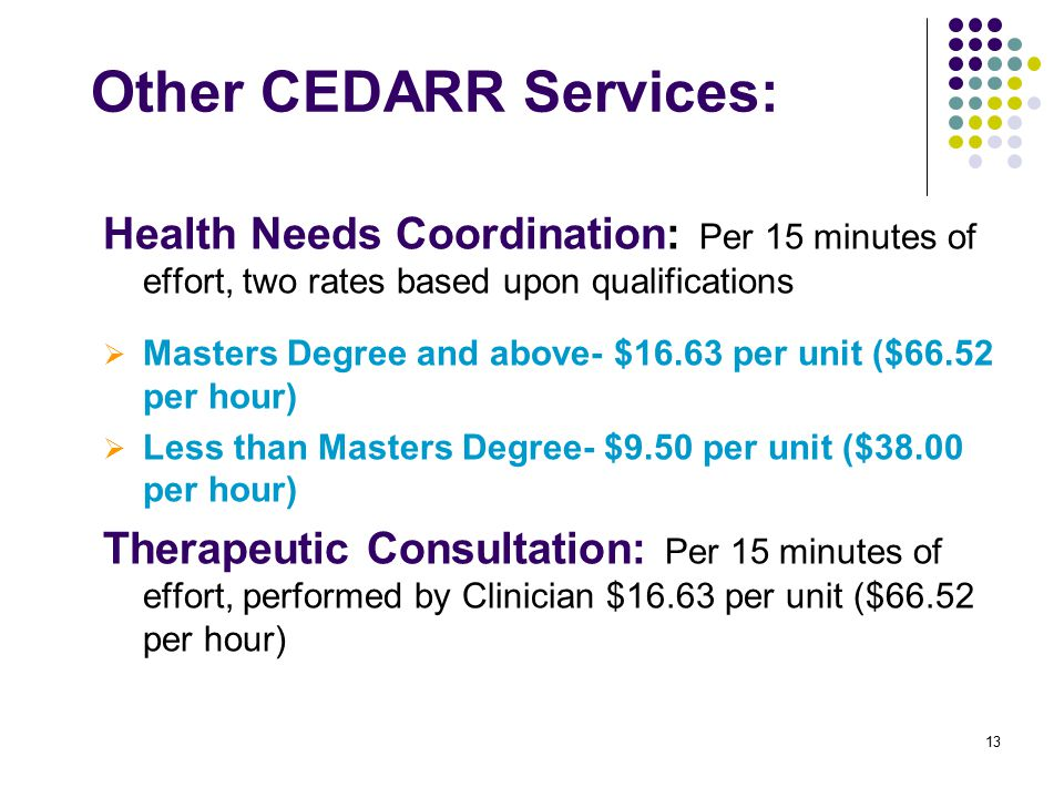 13 Other CEDARR Services: Health Needs Coordination: Per 15 minutes of effort, two rates based upon qualifications  Masters Degree and above- $16.63 per unit ($66.52 per hour)  Less than Masters Degree- $9.50 per unit ($38.00 per hour) Therapeutic Consultation: Per 15 minutes of effort, performed by Clinician $16.63 per unit ($66.52 per hour)