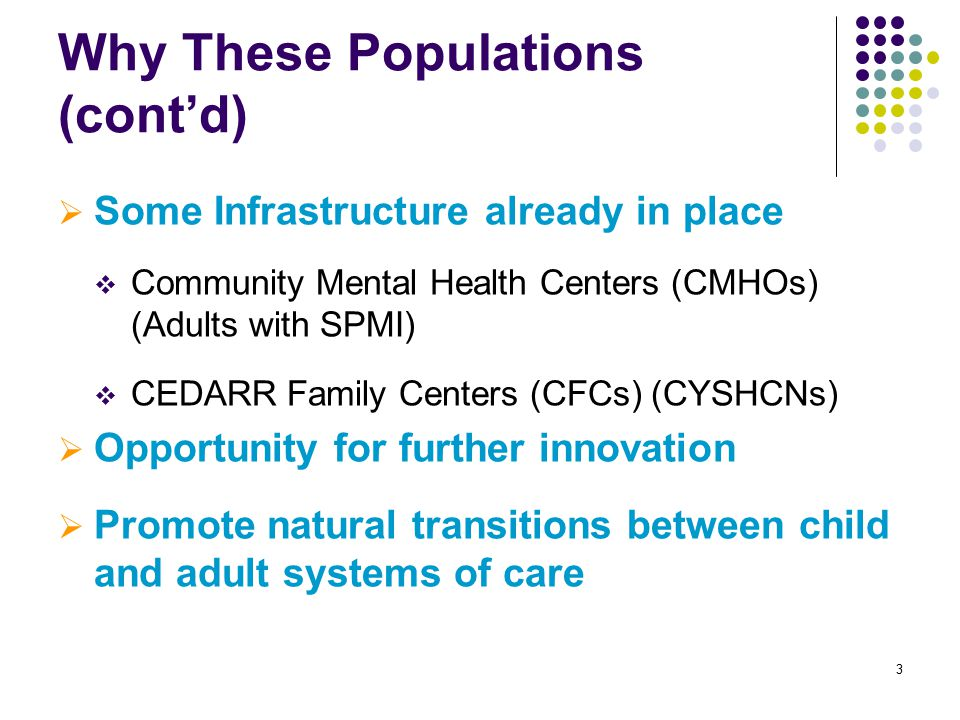 3 Why These Populations (cont'd)  Some Infrastructure already in place  Community Mental Health Centers (CMHOs) (Adults with SPMI)  CEDARR Family Centers (CFCs) (CYSHCNs)  Opportunity for further innovation  Promote natural transitions between child and adult systems of care