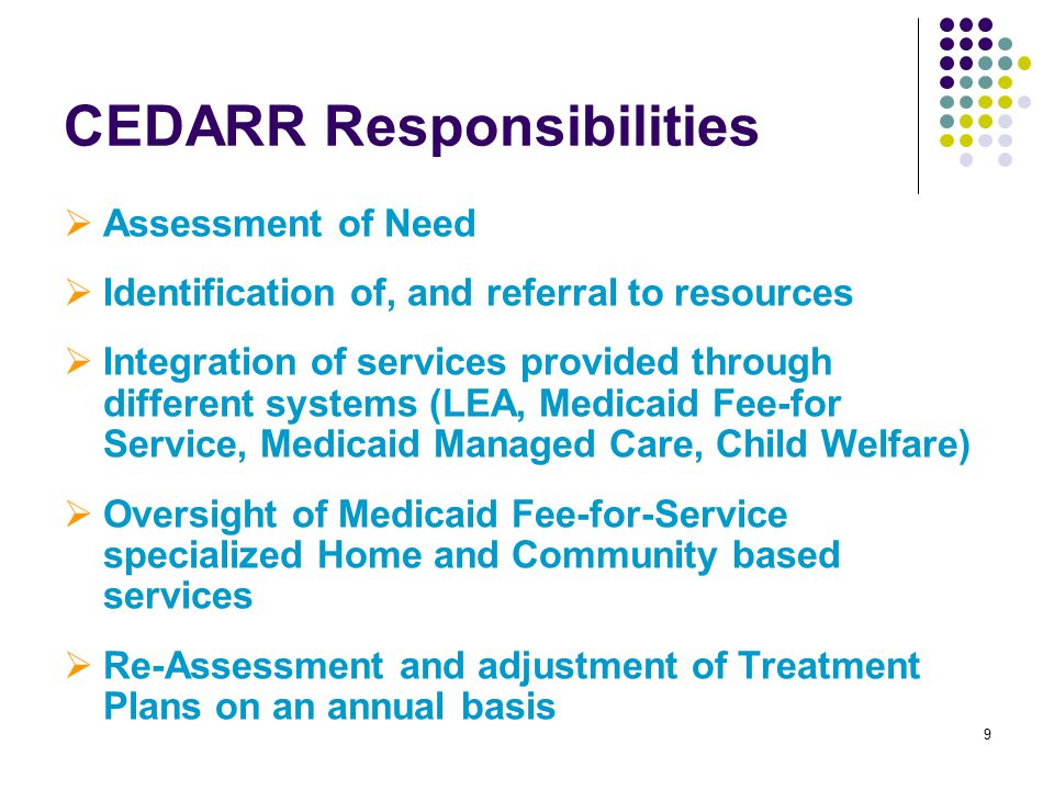 9 CEDARR Responsibilities  Assessment of Need  Identification of, and referral to resources  Integration of services provided through different systems (LEA, Medicaid Fee-for Service, Medicaid Managed Care, Child Welfare)  Oversight of Medicaid Fee-for-Service specialized Home and Community based services  Re-Assessment and adjustment of Treatment Plans on an annual basis