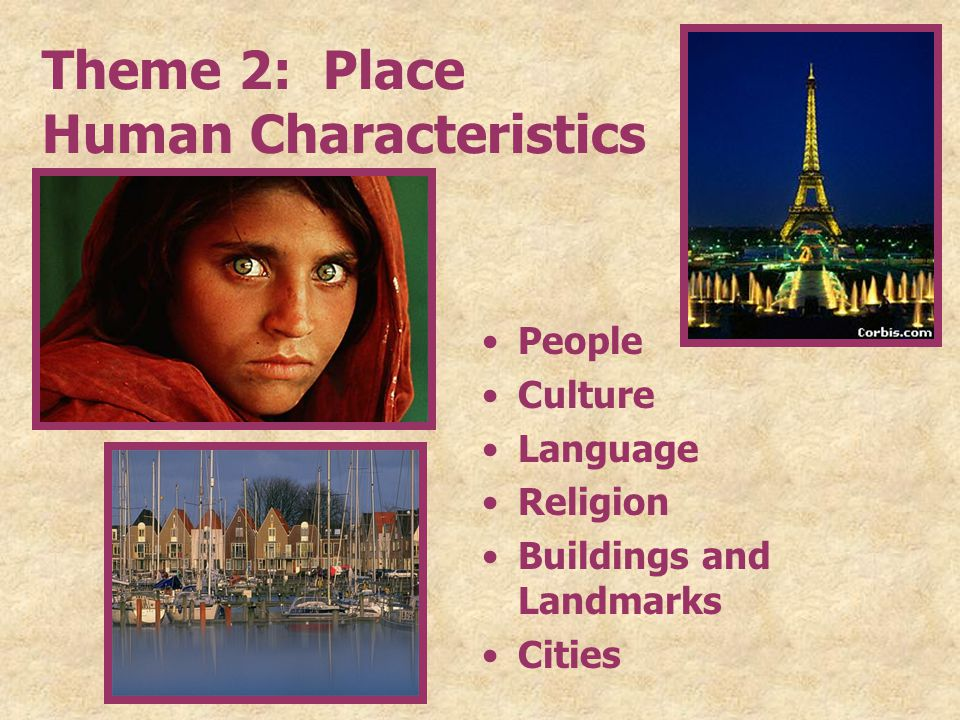 Theme 2: Place Human Characteristics People Culture Language Religion Buildings and Landmarks Cities