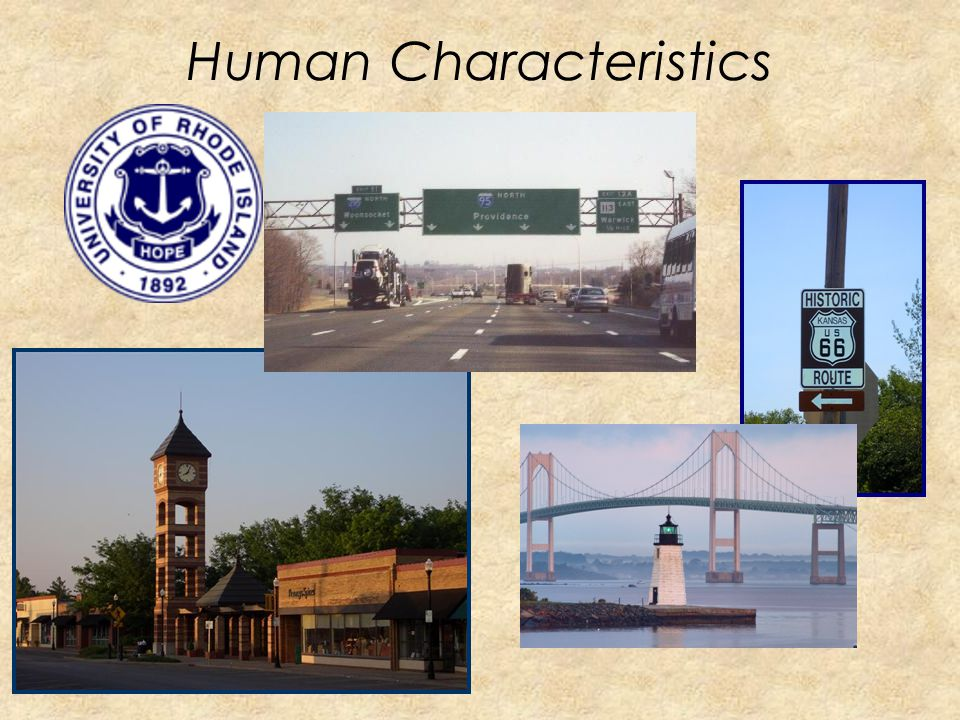 Human Characteristics People Culture Language Religion Buildings and landmarks Cities Customs and beliefs How many people live, work, and visit a plac