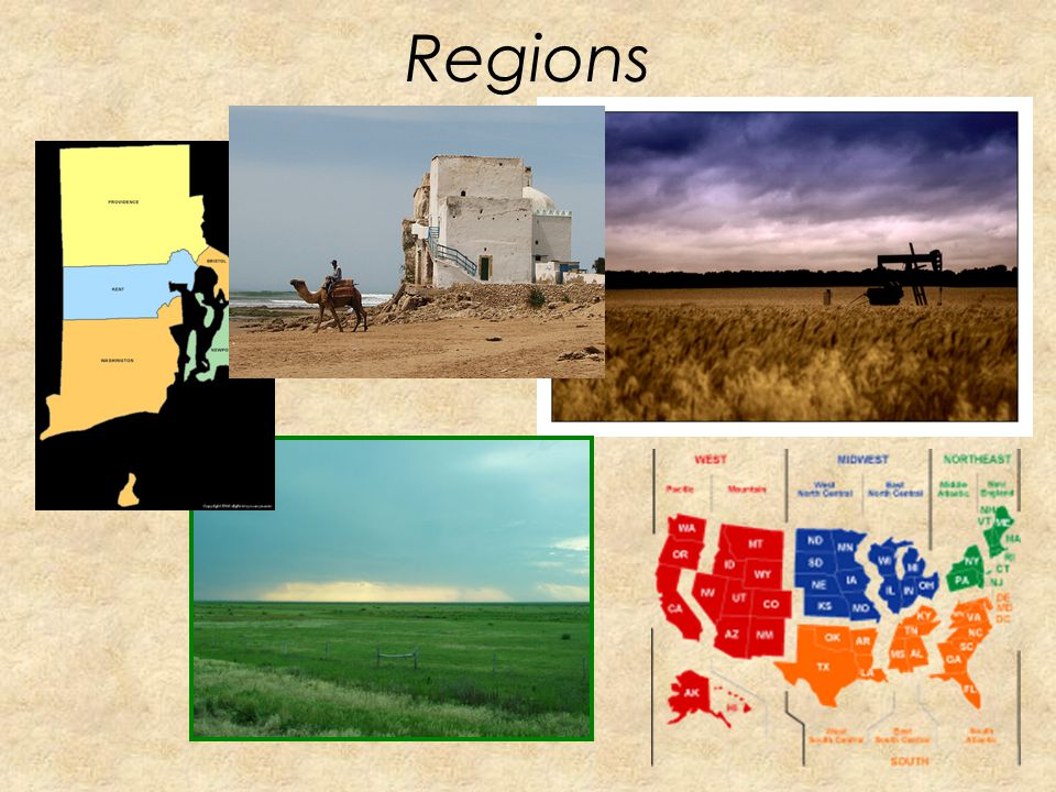 Regions What places have in common. –Political regions (countries, states, counties, cities) –Landform regions (Rocky Mountains, Death Valley) –Agricu