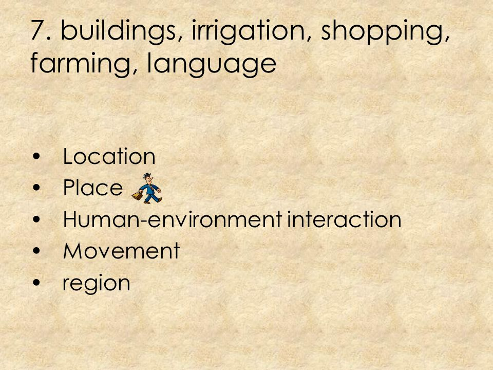 6. Latitude and longitude Location Place Human-environment interaction Movement region