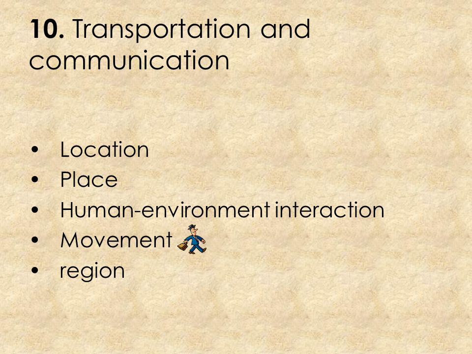 9. Rivers flowing Location Place Human-environment interaction Movement region
