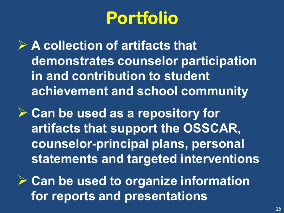 25 Portfolio  A collection of artifacts that demonstrates counselor participation in and contribution to student achievement and school community  C