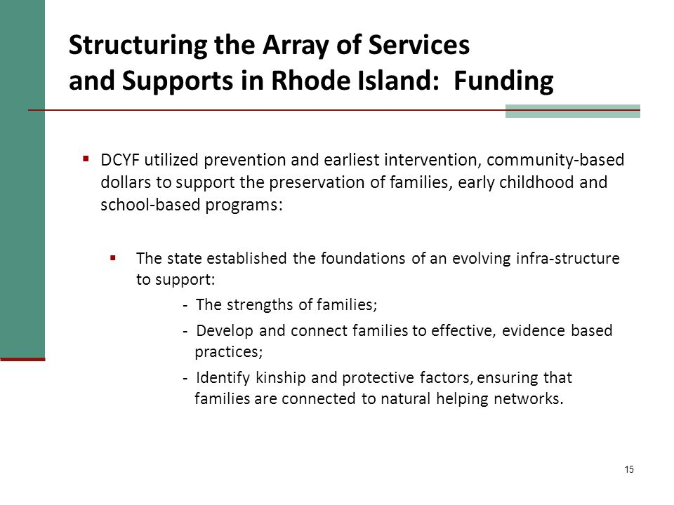 15 Structuring the Array of Services and Supports in Rhode Island: Funding  DCYF utilized prevention and earliest intervention, community-based dollars to support the preservation of families, early childhood and school-based programs:  The state established the foundations of an evolving infra-structure to support: - The strengths of families; - Develop and connect families to effective, evidence based practices; - Identify kinship and protective factors, ensuring that families are connected to natural helping networks.