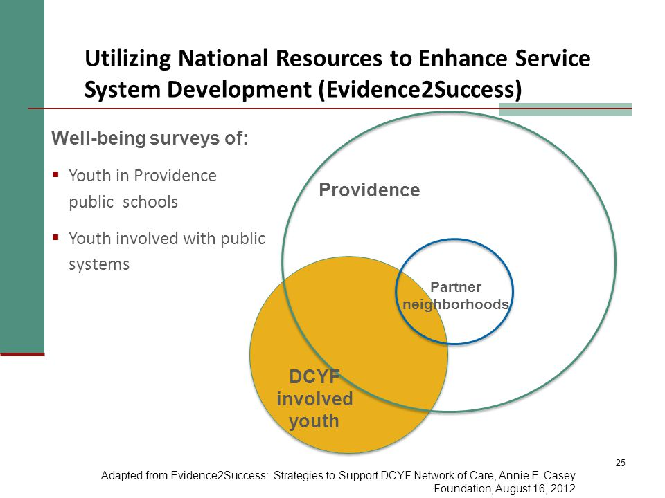 25 Partner neighborhoods DCYF involved youth Providence Well-being surveys of:  Youth in Providence public schools  Youth involved with public systems Utilizing National Resources to Enhance Service System Development (Evidence2Success) Adapted from Evidence2Success: Strategies to Support DCYF Network of Care, Annie E.