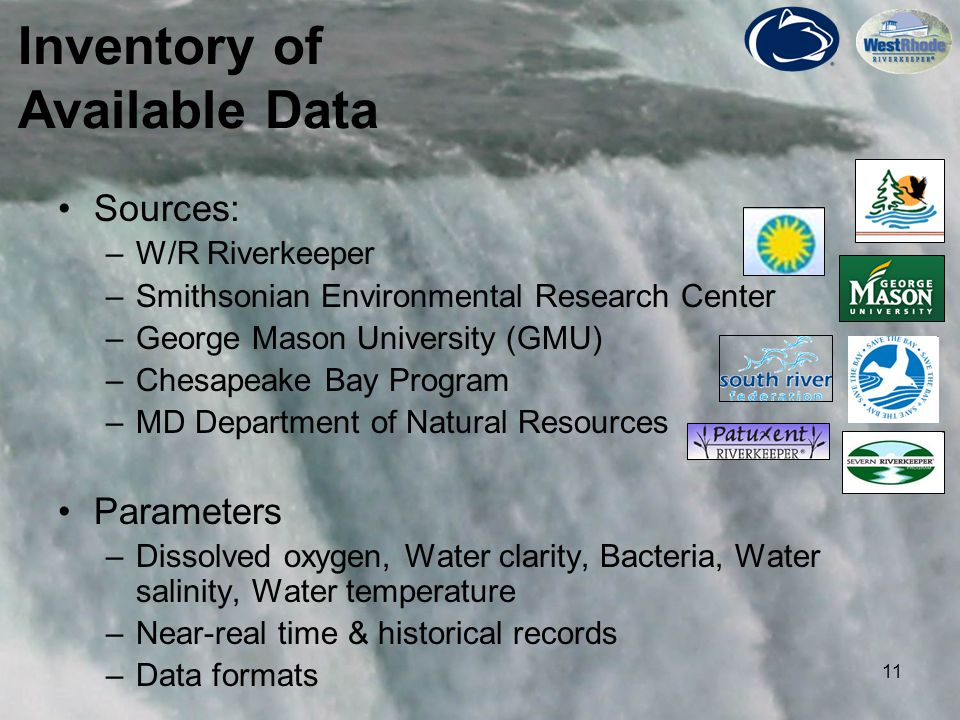 11 Sources: –W/R Riverkeeper –Smithsonian Environmental Research Center –George Mason University (GMU) –Chesapeake Bay Program –MD Department of Natur