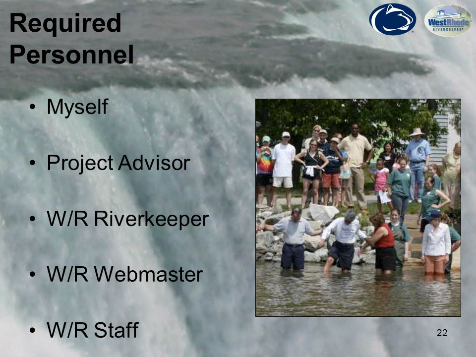 22 Myself Project Advisor W/R Riverkeeper W/R Webmaster W/R Staff Required Personnel Picture here