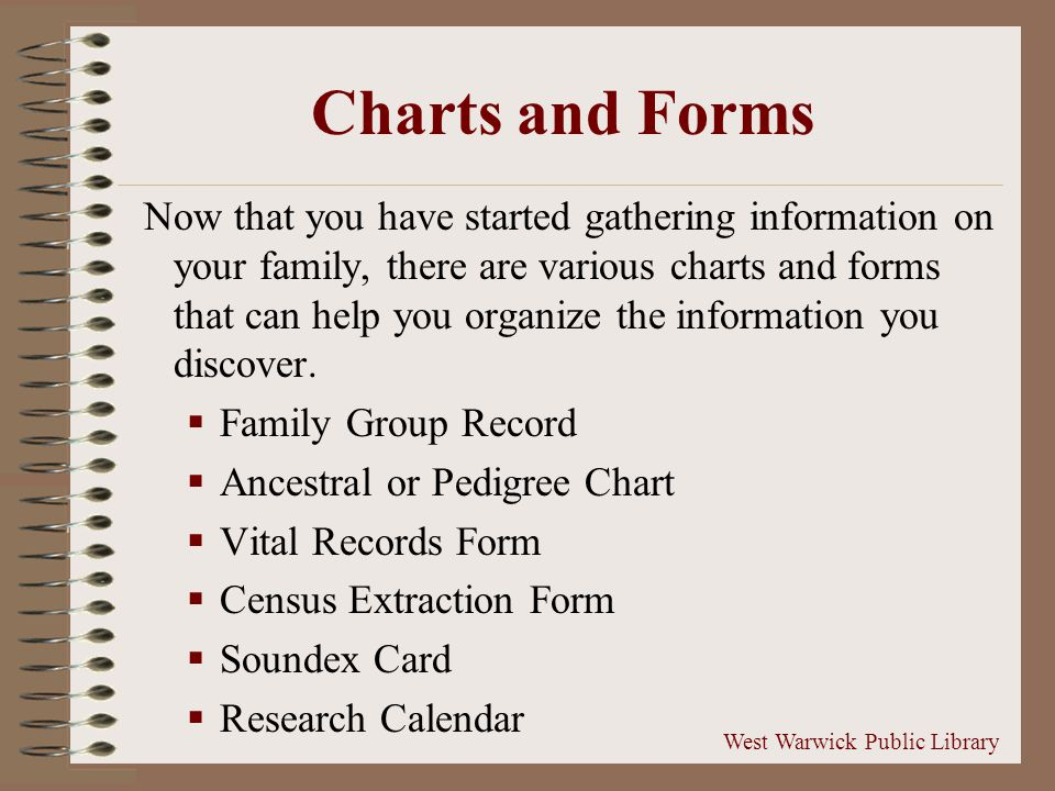 Charts and Forms Now that you have started gathering information on your family, there are various charts and forms that can help you organize the information you discover.