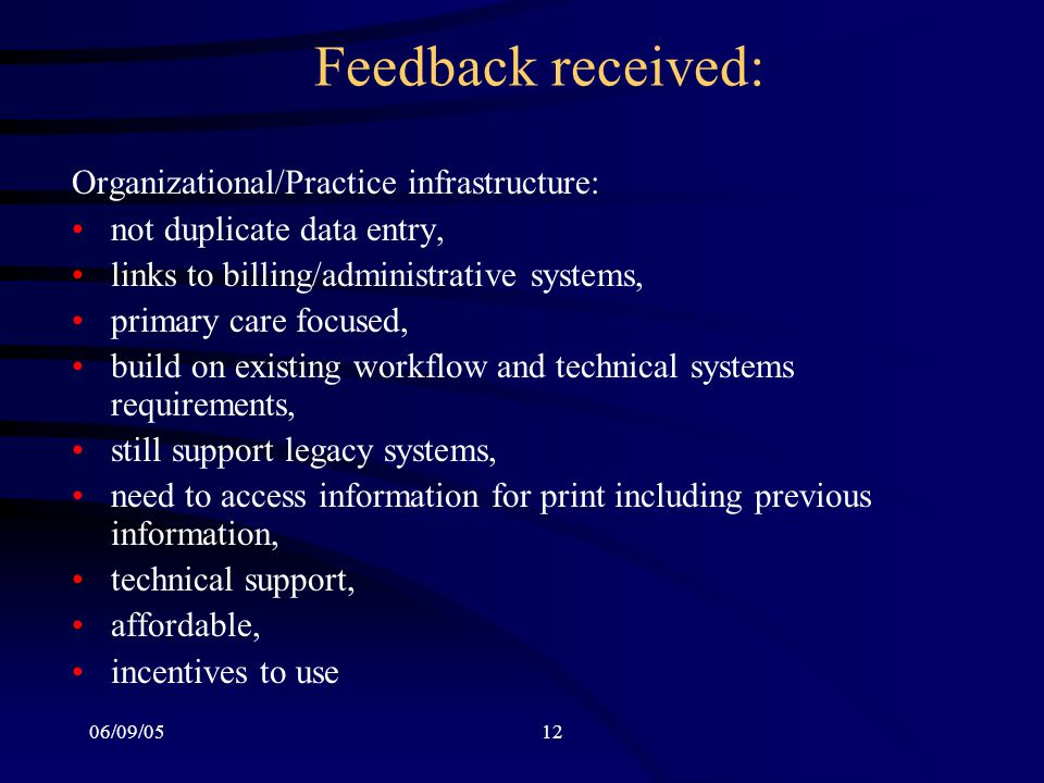 06/09/0512 Feedback received: Organizational/Practice infrastructure: not duplicate data entry, links to billing/administrative systems, primary care