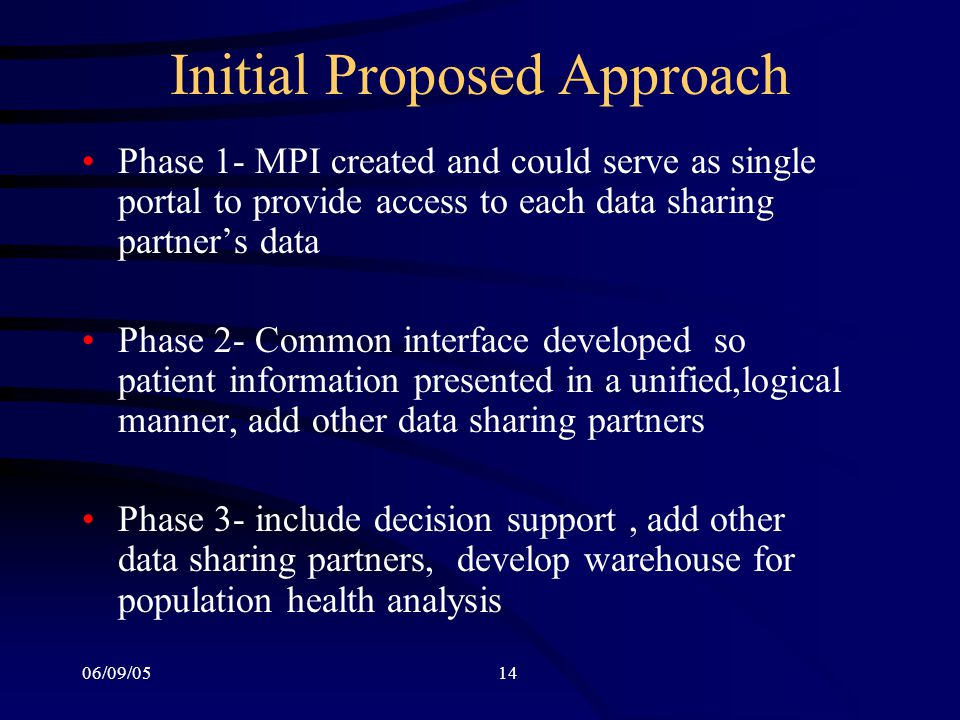 06/09/0514 Initial Proposed Approach Phase 1- MPI created and could serve as single portal to provide access to each data sharing partner's data Phase