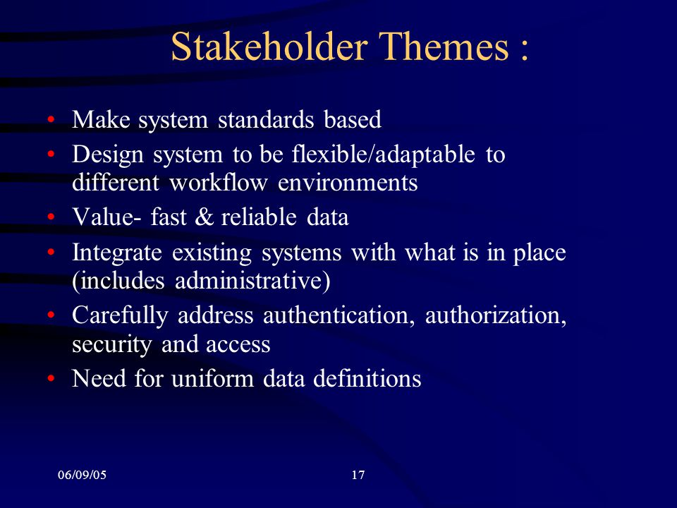 06/09/0517 Stakeholder Themes : Make system standards based Design system to be flexible/adaptable to different workflow environments Value- fast & reliable data Integrate existing systems with what is in place (includes administrative) Carefully address authentication, authorization, security and access Need for uniform data definitions